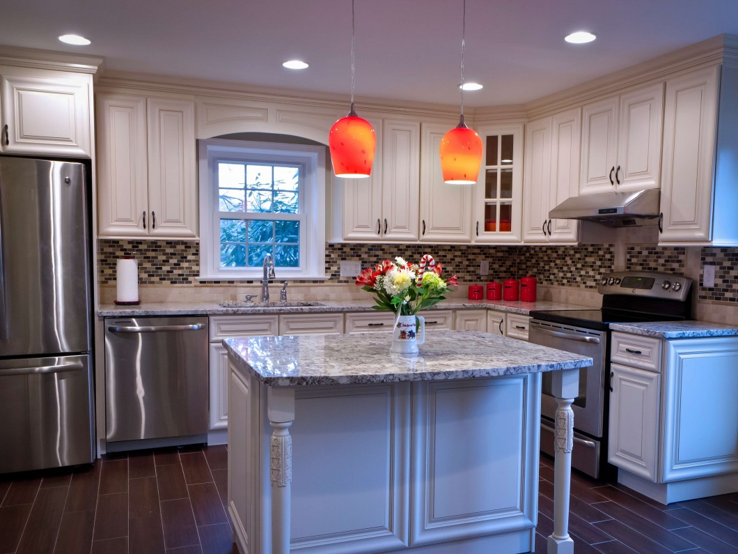 home kitchen with stainless steel appliances and island